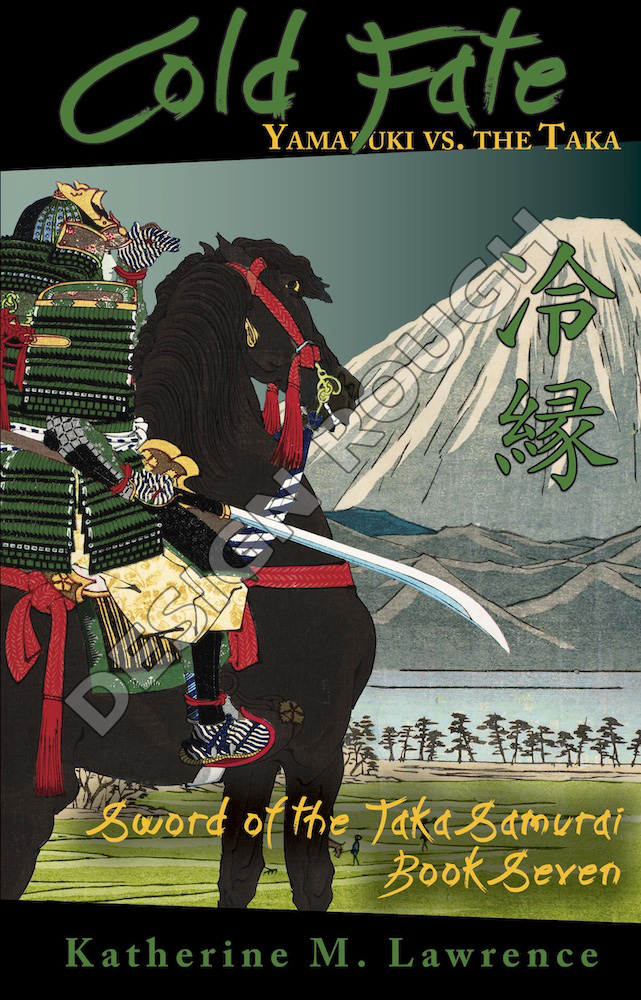 Illustration of armored woman samurai on horse, gazing at Mt Fuji